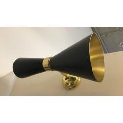 Wandleuchte schwarz / gold, 14 x 34 cm
